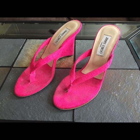 fbe22179cc2f Jimmy Choo Shoes - Jimmy Choo Hot Pink Wedges Cloth Sandals 8
